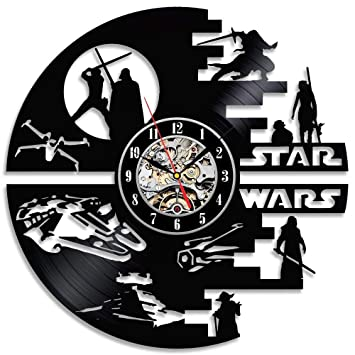 MFSW Reloj De Pared De Vinilo Sala De Estar Decorativa Star Wars Reloj De Pared De Vinilo Hecho A Mano: Amazon.es: Hogar