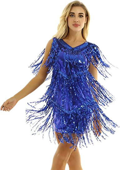 inhzoy Vestido de Baile Latino Lentejuelas para Mujer Vestido de ...