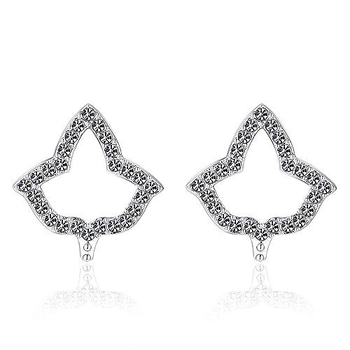 Lanqueen AKA Sorority Gifts for Women,Silver Crystal Stud Earrings Dangle,  Alpha Kappa Alpha Paraphernalia Graduation Jewelry…