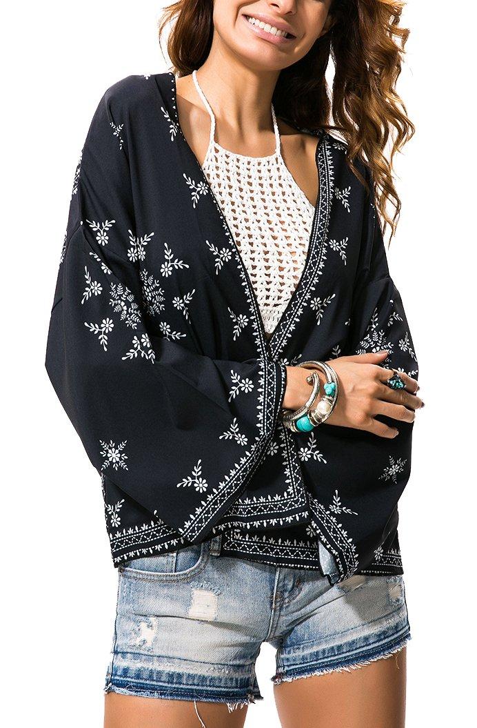 AM CLOTHES Womens Plus Size Sheer Blouse Loose Tops Kimono Cardigan Beach Cover up Medium 19-Black