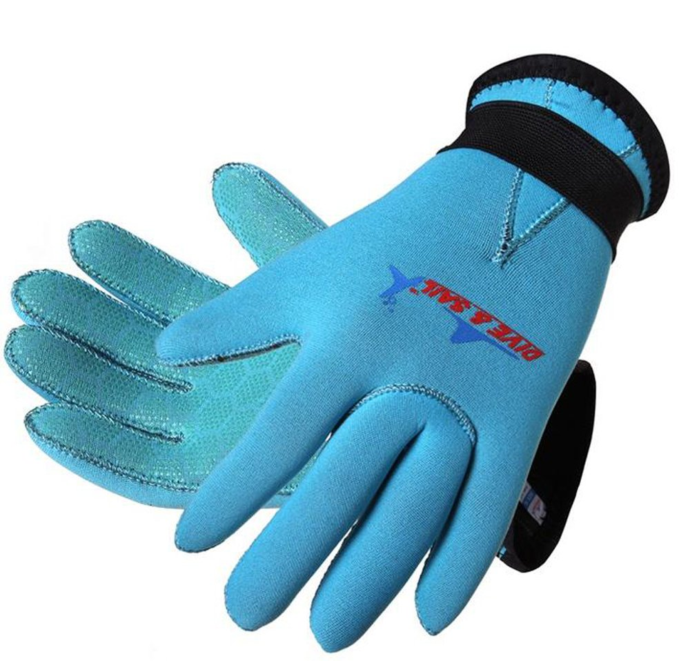 Dive & Sail 3mm Kids Neoprene Skid-proof Wetsuit Gloves for Surf Snorkeling Diving (Blue, L) by DIVE & SAIL