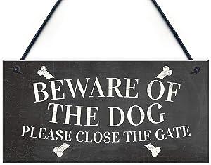 Meijiafei Beware of The Dog Warning Sign Garden Gate House Door Hanging Outdoor Plaque Gift 10