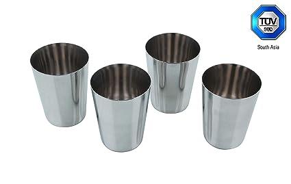 tazas de acero inoxidable Sattvii 300 ml | paquete de 4 | aprobado por el TÜV | ideal para acampar| vasos de metal | tazas de beber | apilables | ...