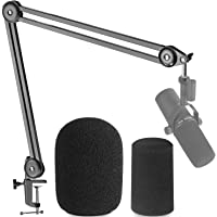 Shure SM7B Boom Arm Mic Stand with 2 Types of Pop Filter - Professional Broadcast Boom Arm for Shure SM7B with 2 PCS…