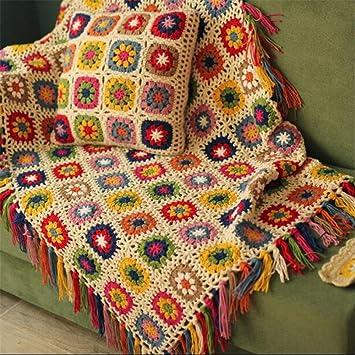 Campo nórdicos hecho a mano tejido a ganchillo manta, toalla de alfombra de punto,