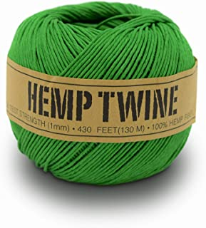 product image for 100% Hemp Twine Ball 1MM, 100G/430 Ft. - 20 lb. Test Strength - Green