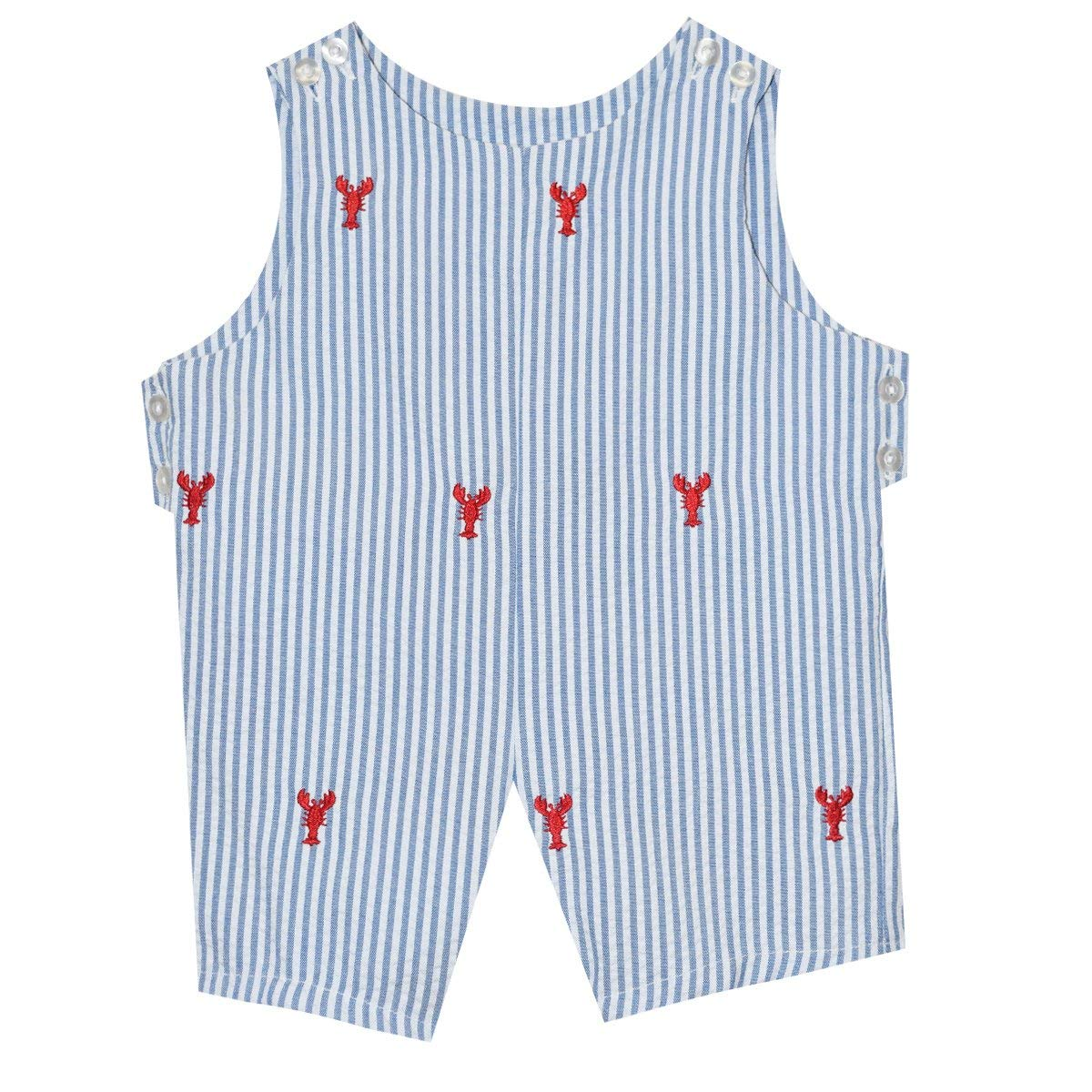 Lobsters Embroidered Blue Stripe Boys Shortall