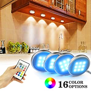 Bason RGB Under Cabinet Lighting, Remote Control LED Puck Lights, Multi Color Changing, Dimmable, Shelf Decorative for Kitchen Cabinets Counter, Glass Cabinets, Bookshelf (4 Packs)