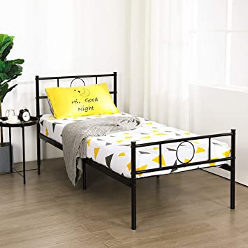 5549ff63f1dd Aingoo Kids Single Bed Frame 3ft Metal Bed Platform with Headboard for  Children Adults in Black