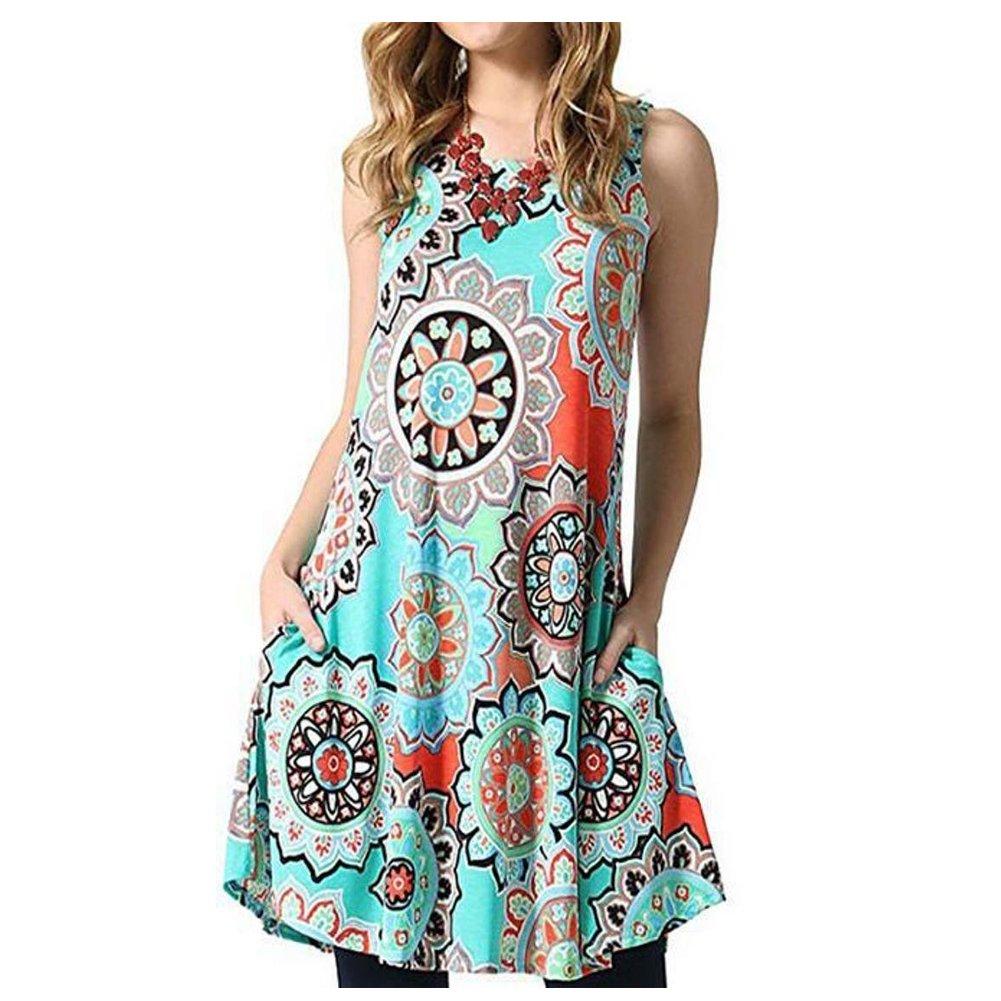 Lightbluee Vocar Women's Damask Dress Sleeveless Printed Swing TShirt Midi Dresses with Pocket