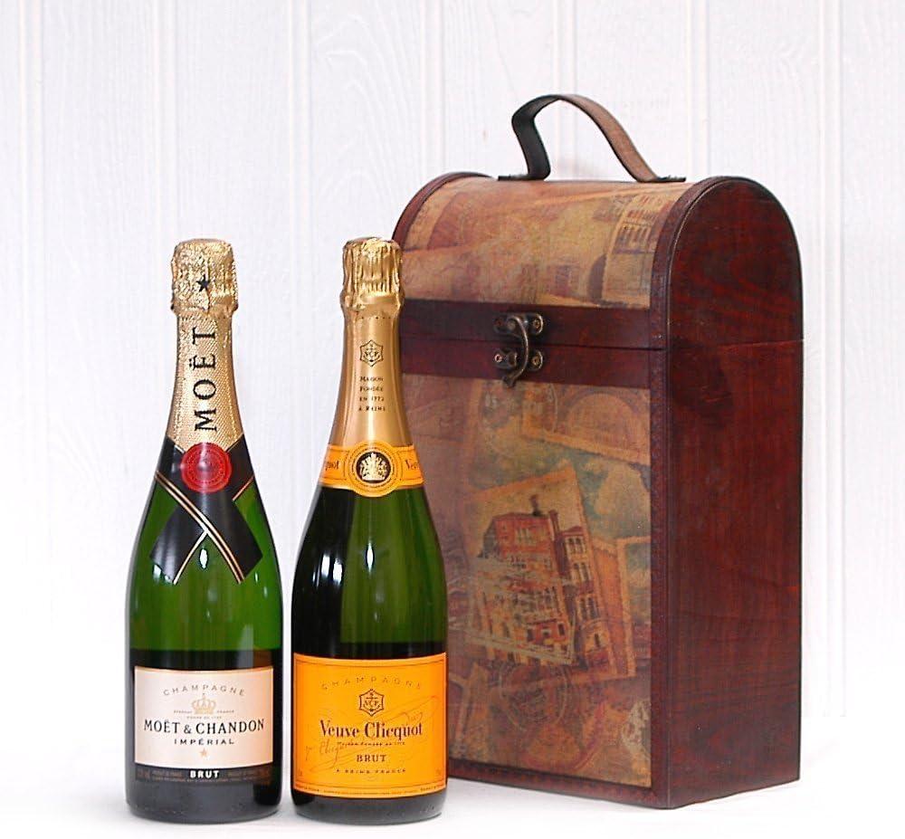 Lujoso Vintage Champagne Box con Moet et Chandon y Veuve Clicquot - Un regalo encantador para la esposa, esposo, novia, novio, feliz cumpleaños, como agradecimiento Nice: Amazon.es: Alimentación y bebidas