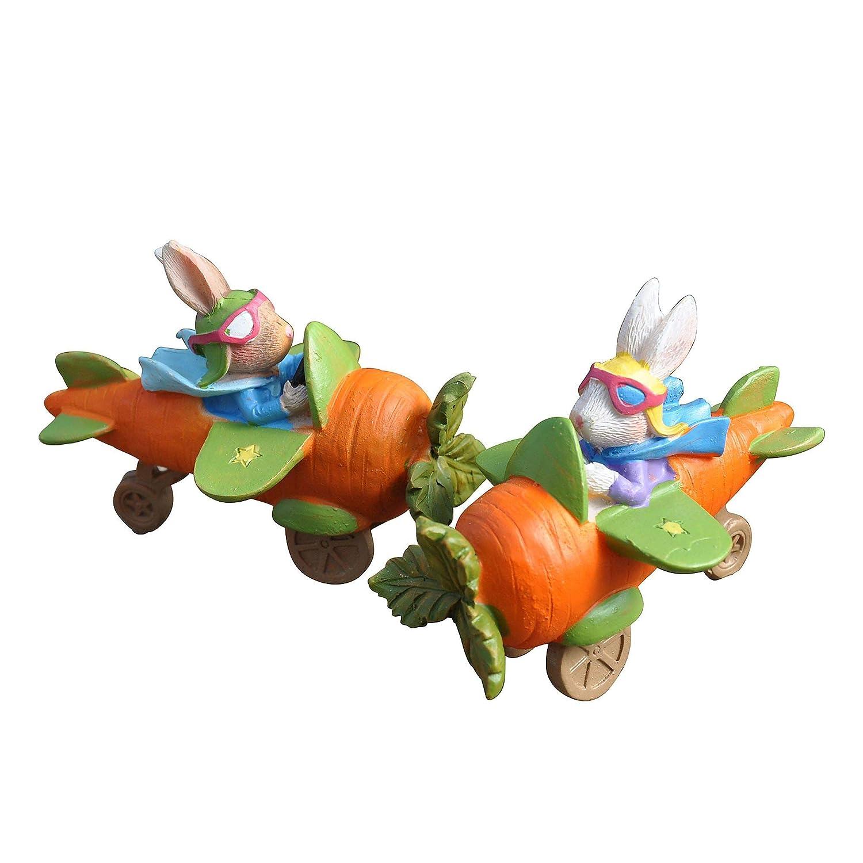 Darice Miniature Easter Fairy Garden Rabbit Flying Carrot Airplane, Resin, 1 Figurine per Order