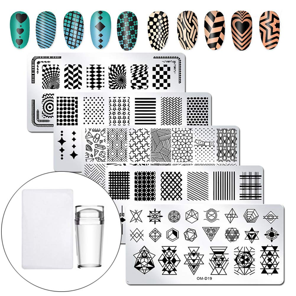 WOKOTO Nail Plates Stamping Set With Classic Geometric Stars Nail Image Plate Stamping Nail Art Kit With Stamper And Scraper Kit For Women Girls