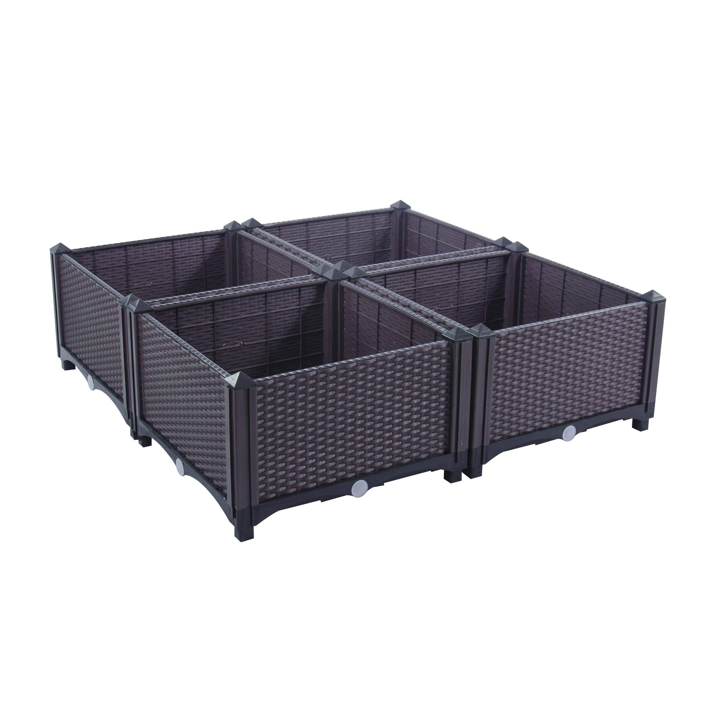 D'vine Dev Easy Grow Raised Garden Beds Planter(32 Inches Height / 32 Inches Wide) - Manual Drain - Indoor/Outdoor Large Polypropylene Resin Raised Garden