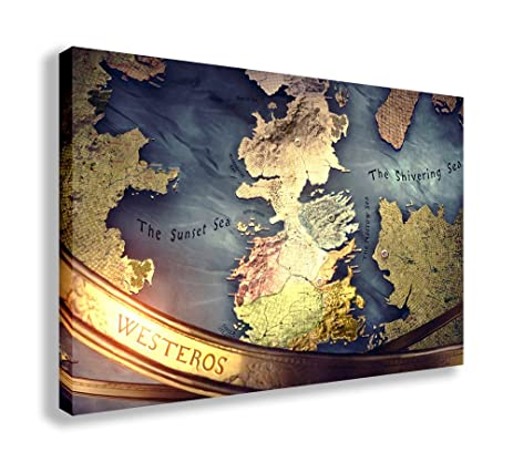 Amazon.com: WESTEROS MAP GAME OF THRONES CANVAS WALL ART (44\