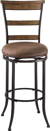 Hillsdale Furniture Charleston Swivel Ladder Back Bar Height Stool, Charcoal Gray