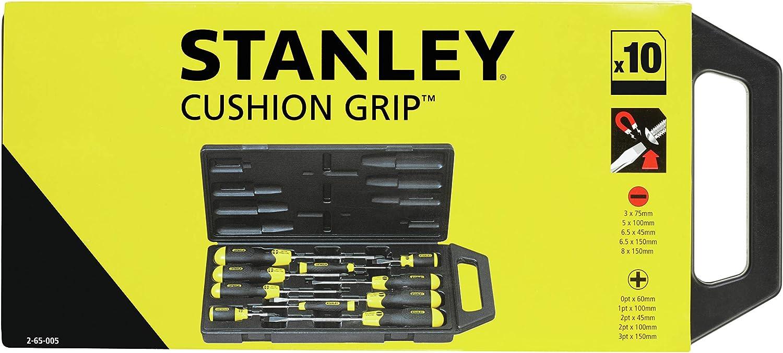 Set of 10 Pieces Stanley 2-65-005 PH Cushion Grip Screwdriver Multi-Colour