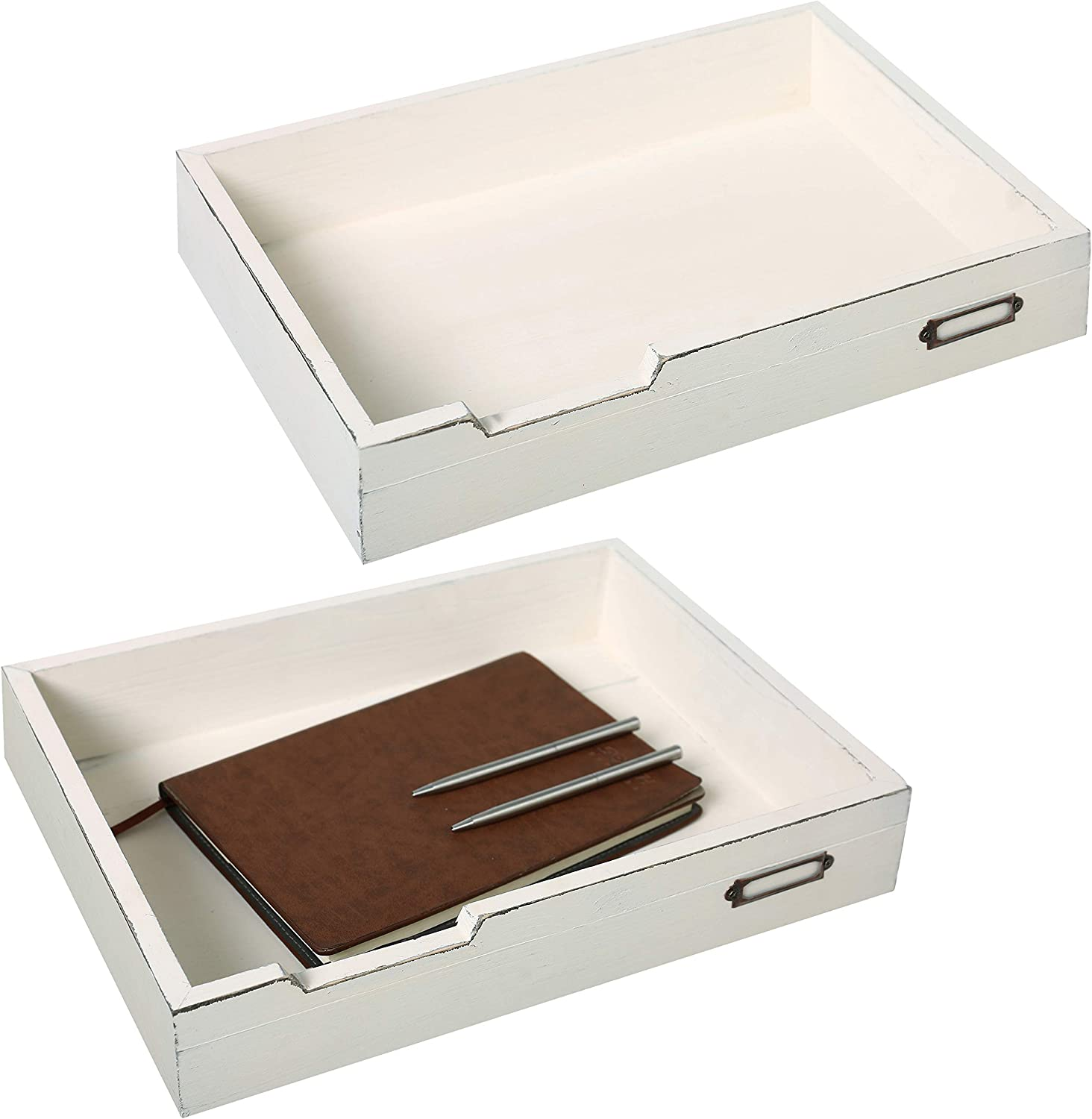 MyGift Set of 2 Vintage Distressed Finish White Wood Office Desktop Document Tray