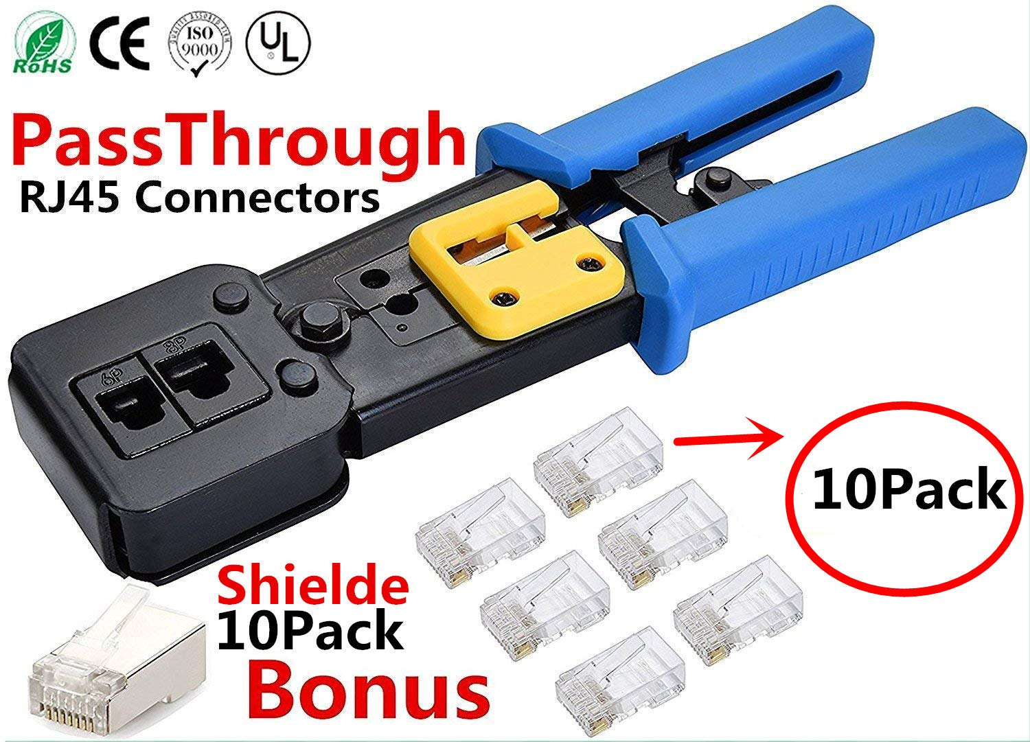 RJ45 Crimp Tool for Pass through and legacy connectorsProfessional High Performance Crimper Tool by Ethernet Connector for pass through and legacy connectors Bonus CAT6 Connector 20 Pack