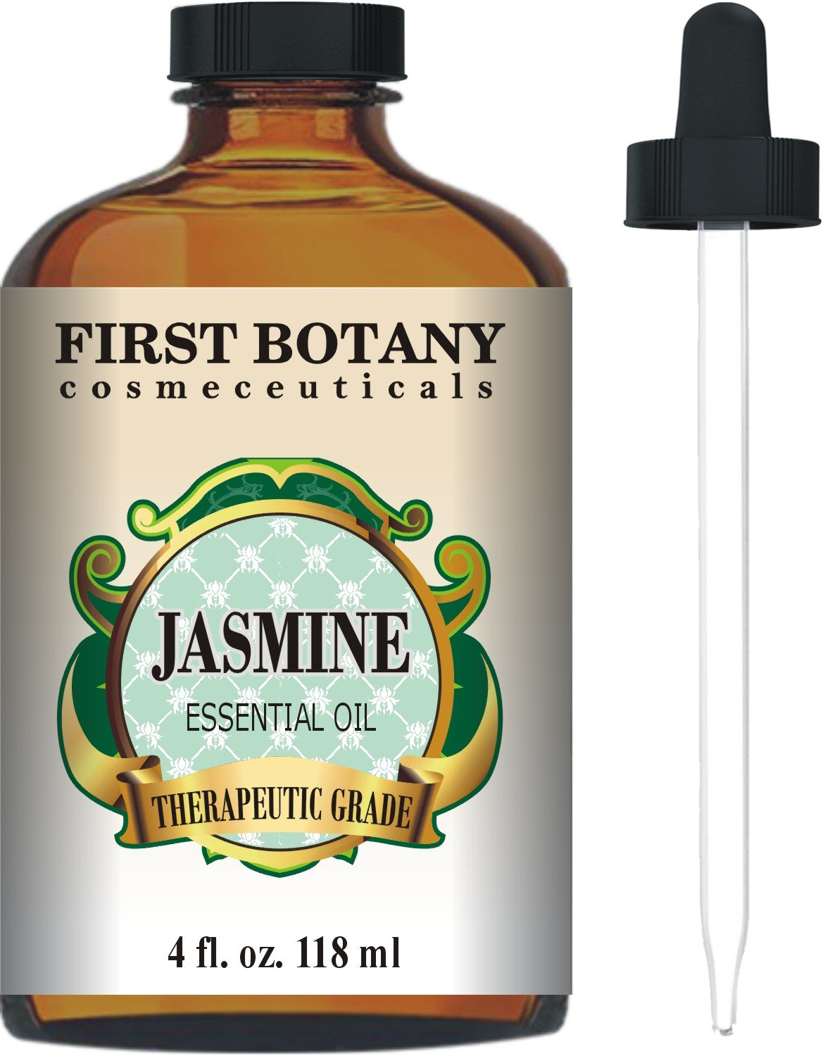 Jasmine Essential Oil 4 fl. oz. With a Glass Dropper - Premium Quality & Therapeutic Grade - Ideal for Aromatherapy & Maintaining Healthy Skin