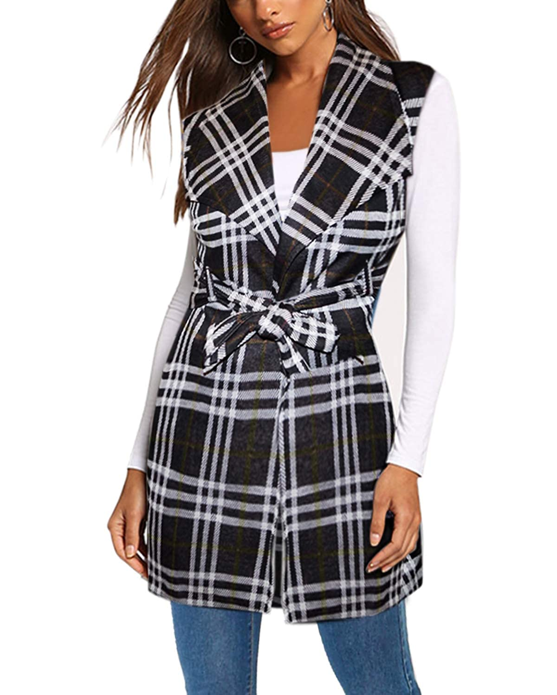Womens Vest Jacket Plaid Cardigan Blazer with self Fabric Belt