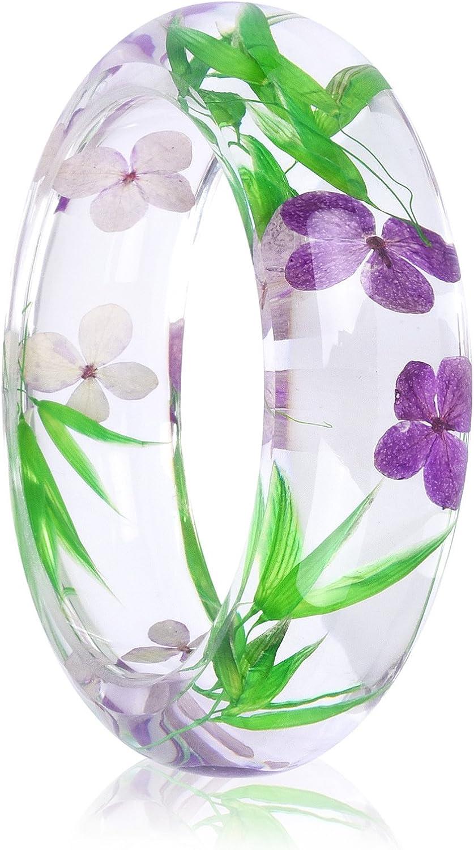 Acchen Real Dried Pressed Flower Transparent Quartz Crystal DIY Handmade Resin Bracelet Plant Garden Jewelry Bangle Bracelet