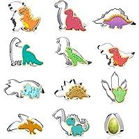 Cortadores de Galletas de Dinosaurio,12 Piezas Molde de Dinosaurio de Acero Inoxidable,Moldes de Dinosaurios para Pastel…