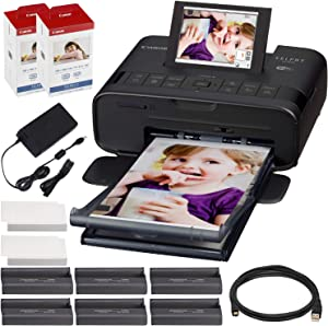 Canon SELPHY CP1300 Compact Photo Printer (Black) with WiFi w/ 2X Canon Color Ink and Paper Set
