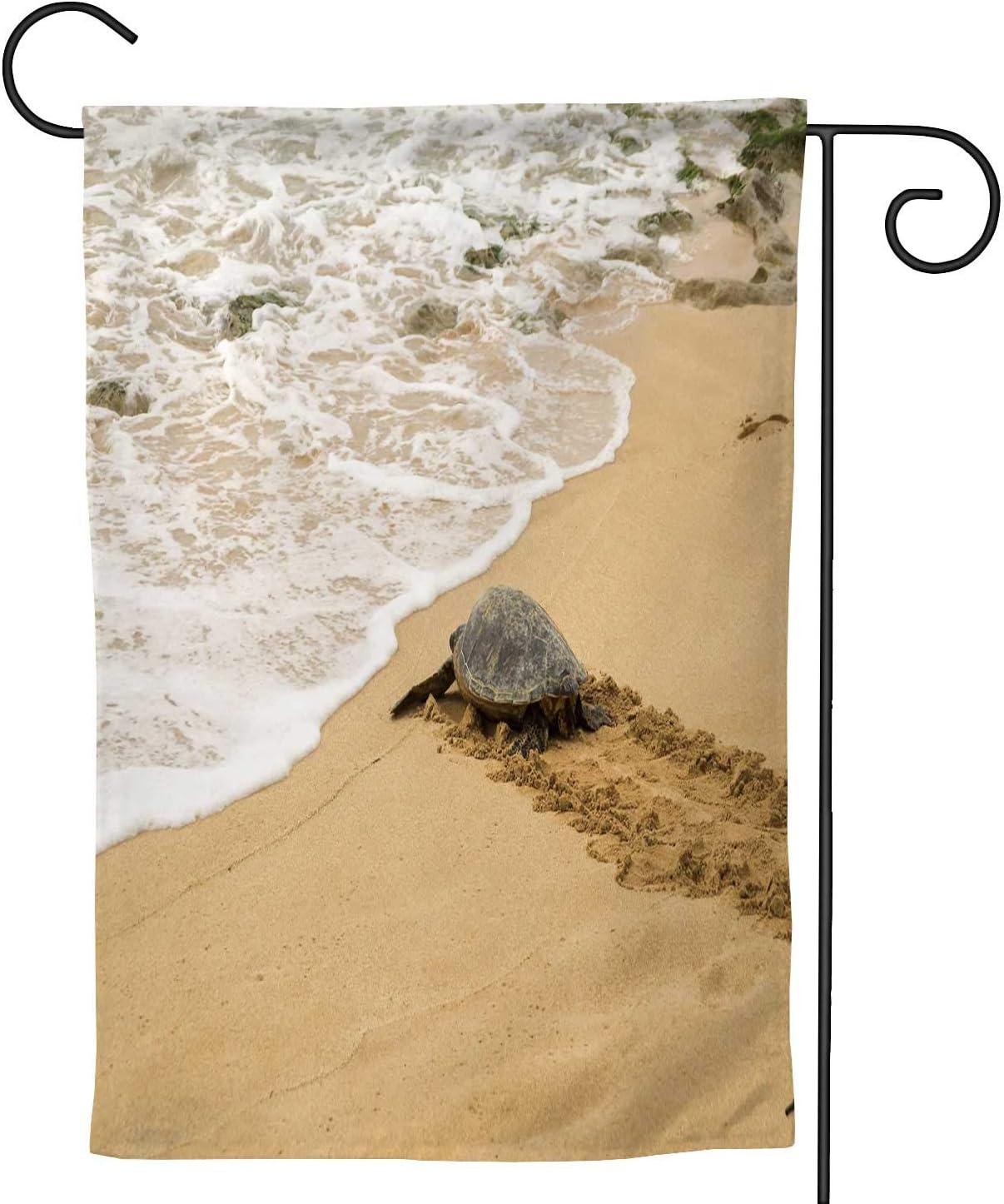 A Hawaiian grean sea Turtle Walking tod The Ocean on North Shore of Oahu,House Yard Garden Flag Outside Decoration Seasonal Home Decor Flag 12.5''x18''