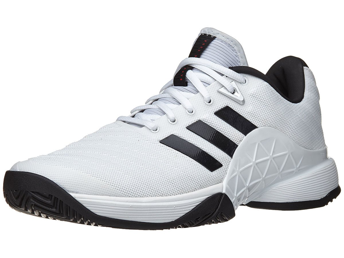 adidas Performance Men's Barricade 2018 Tennis Shoe, White/Black/Matte Silver, 7 M US