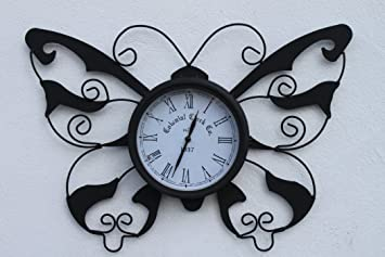 Butterfly Design Decorative Garden Clock WITH FREE BATTERY For