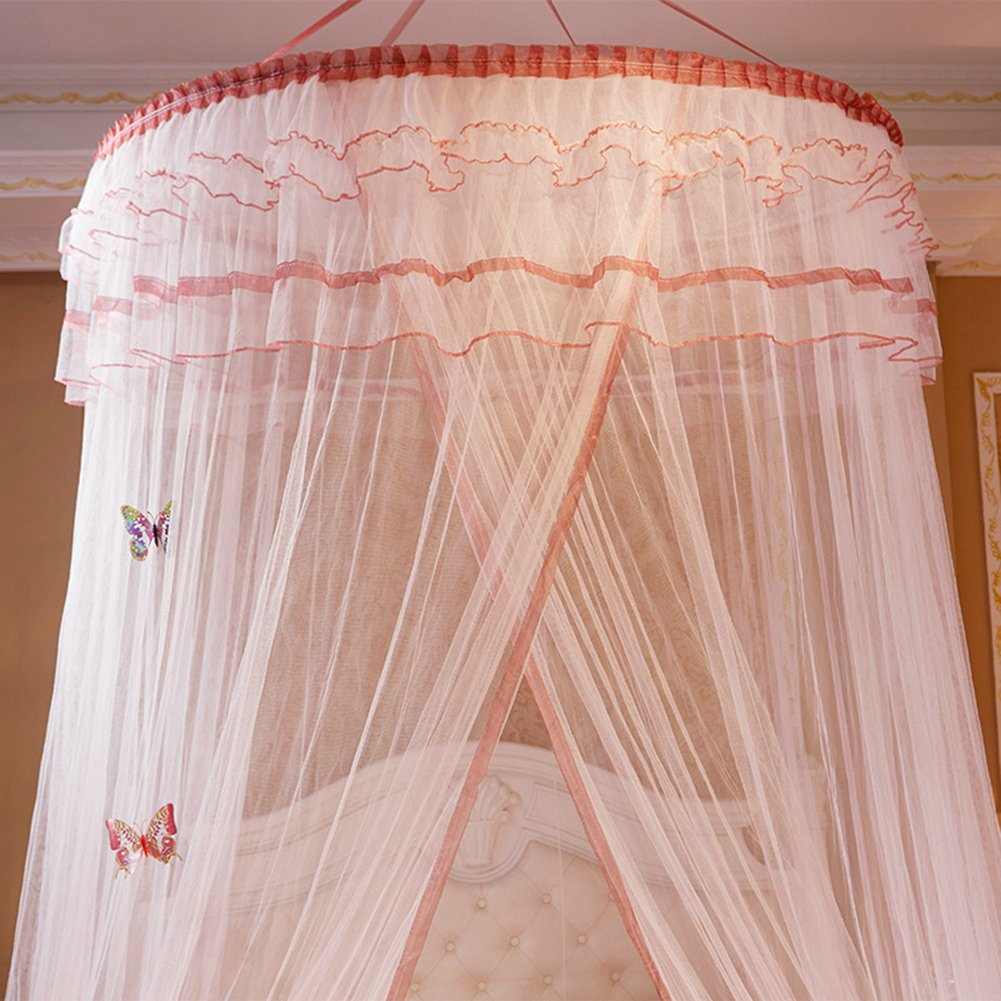 Green TYMX Princess Dome Suspended Ceiling Mosquito Protection Net Bed Canopy Bedroom Room Lace Mosquito Net