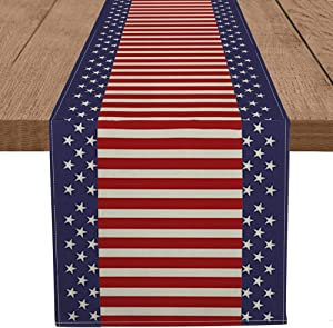 Artoid Mode Watercolor Strips and Stars Table Runner, 4th of July Patriotic Memorial Day Independence Day Holiday Kitchen Dining Table Runners for Home Party Decor 13 x 72 Inch