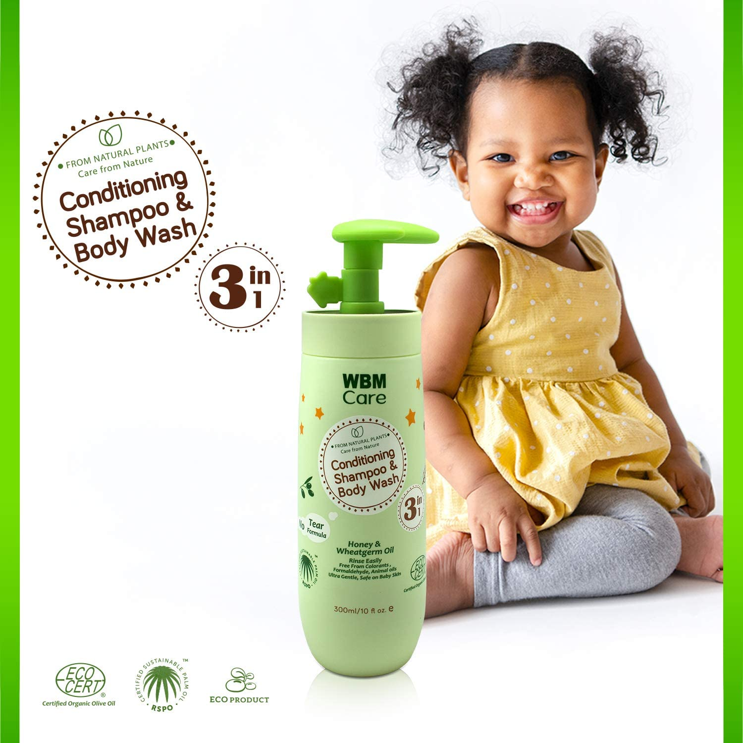 WBM Care Kids 3 in 1 Shampoo Conditioner And Body Wash | Nourishes Baby Hair & Skin | 10 oz