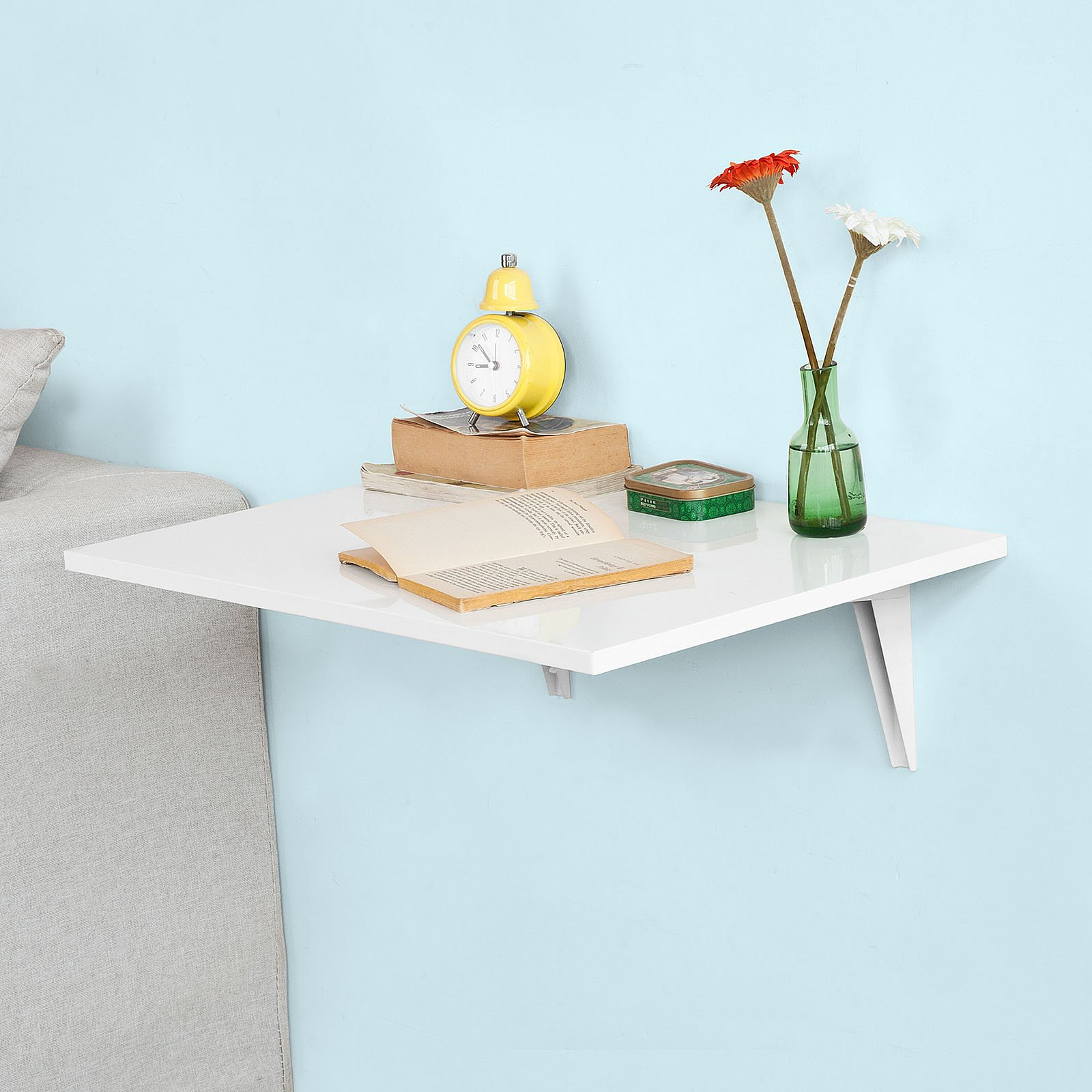 Haotian FWT21-W, Folding Wall-mounted Drop-leaf Table, Kitchen & Dining Table, Children Table Desk, 60x40cm, White