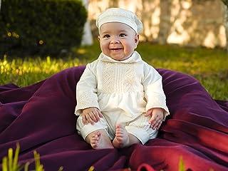 Baby Boy Baptism Outfit Burbvus B004 | Convertible Christening Gown | 100% silk White or Ivory | Shoes, Bonnet & Keepsake Garment Bag