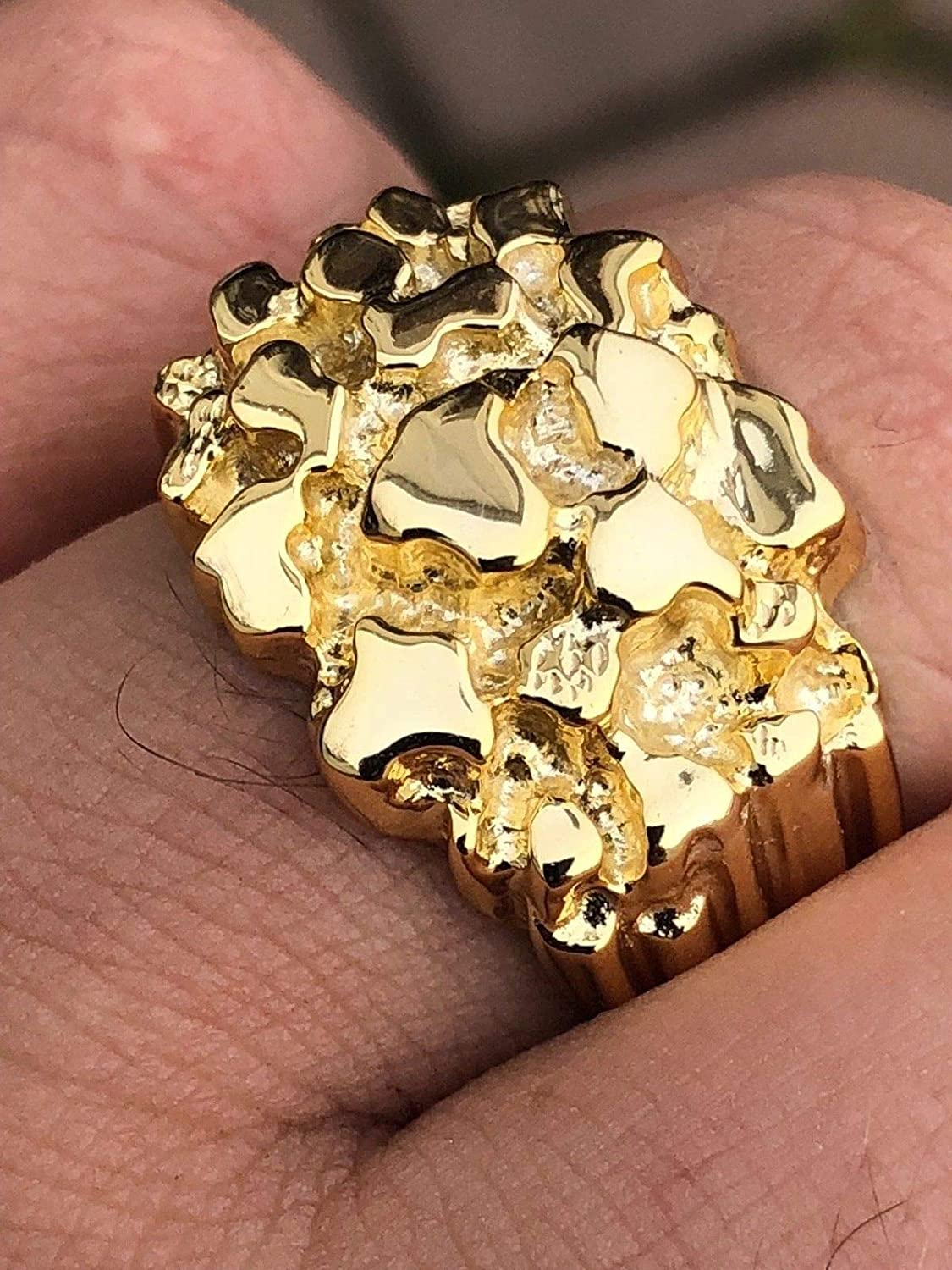 Gold Nugget Ring Sizes 7-13 Pinky or Ring Finger Harlembling Solid 925 Sterling Silver Mens Silver Ring