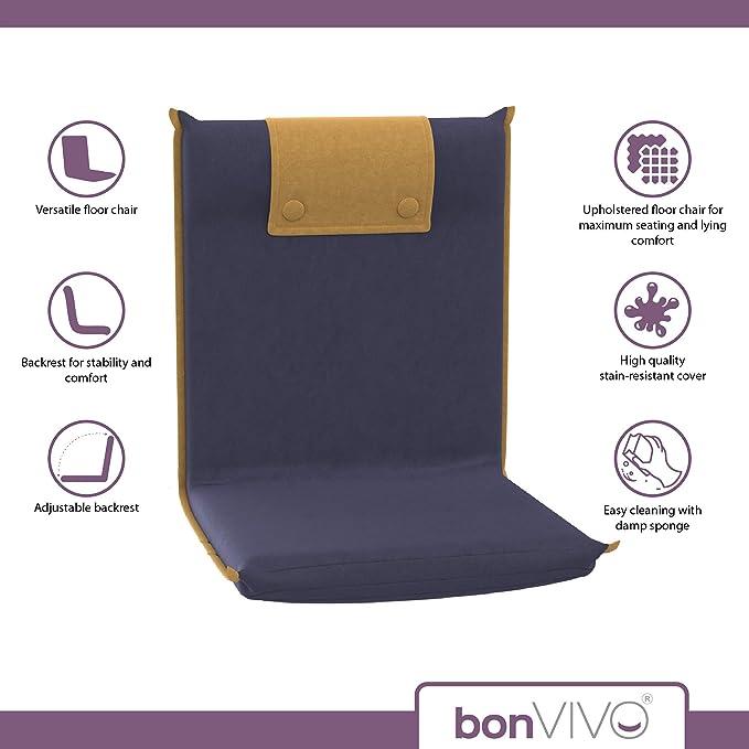 bonVIVO Easy II Silla Acolchada de Suelo con Respaldo Ajustable, Cómoda, Plegable y Versátil - Silla para Meditar, Yoga, Lectura, Ver TV o Gaming, ...