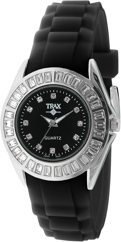 Trax Women s Rox Black Rubber Black Dial Crystal Bezel Watch