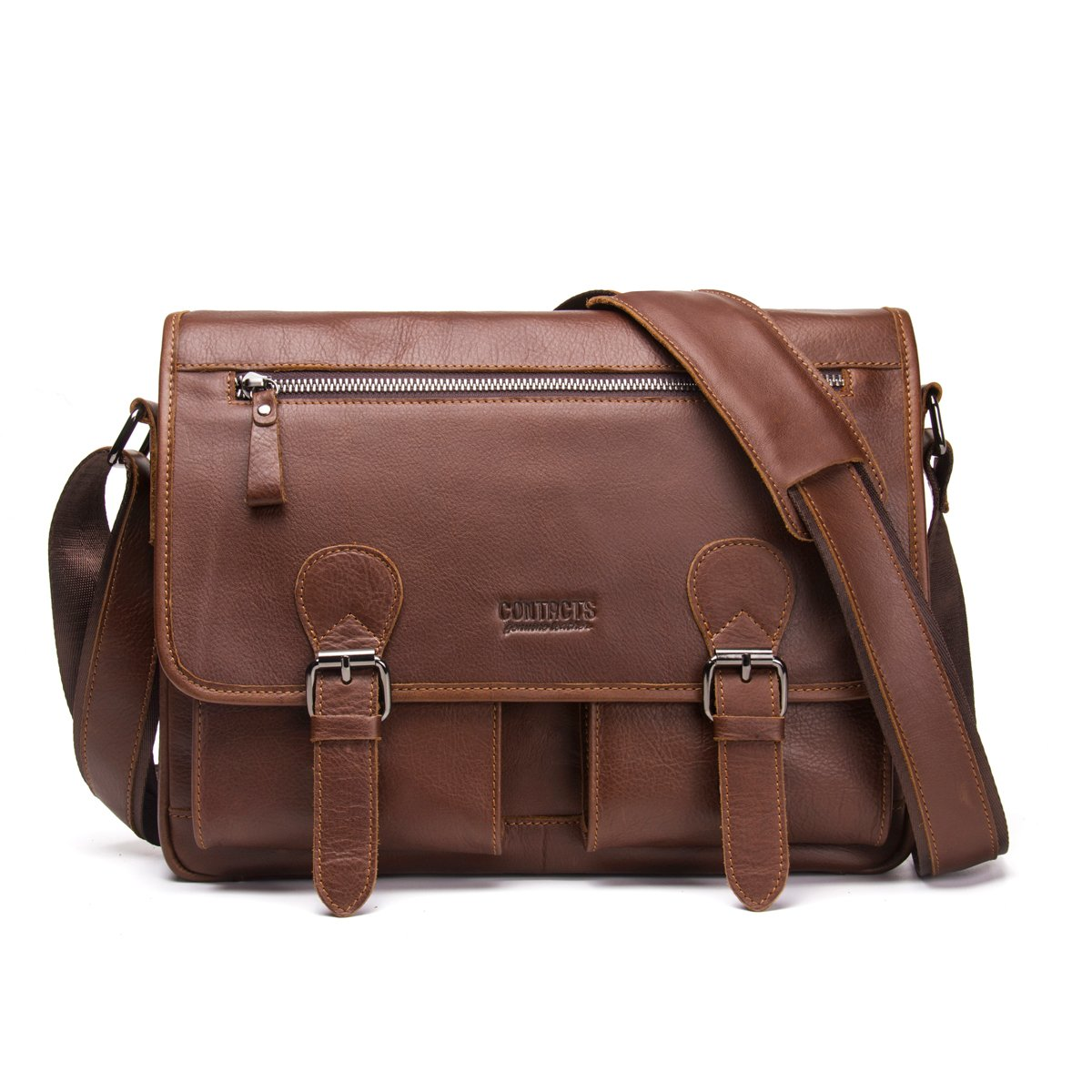 Contacts Real Leather Mens 12'' Laptop Messenger Crossbody Shoulder Travel Briefcase Bag (Brown)