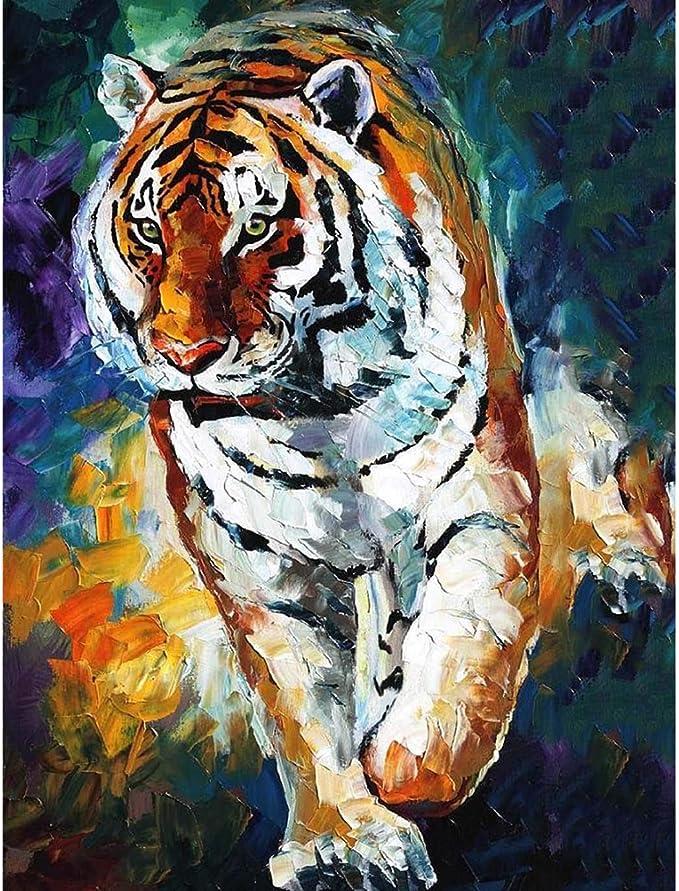 CJJCILEF DIY Acrylmalerei nach Zahlen Kit Animal Tiger Module 40X50CM-No Frame