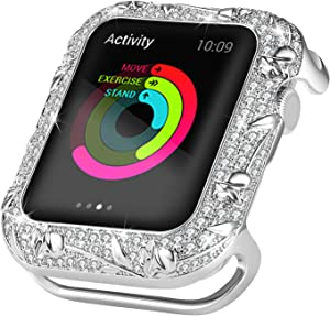 Ritastar Bumper Case for Apple Watch 40mm Stainless Steel Bling Rhinestone Protective Cover Anti-Scratch Shockproof Full Coverage Protection Embossed with Rose Jewelry for iWatch Series 4 5,Silver