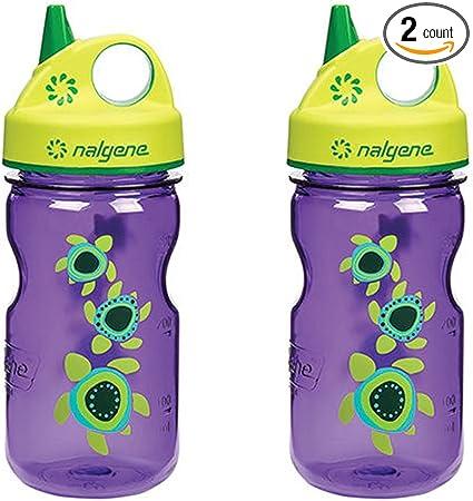 Nalgene Grip-N-Gulp Kids//Childrens Tritan Water Bottles 12 Ounce Set Two