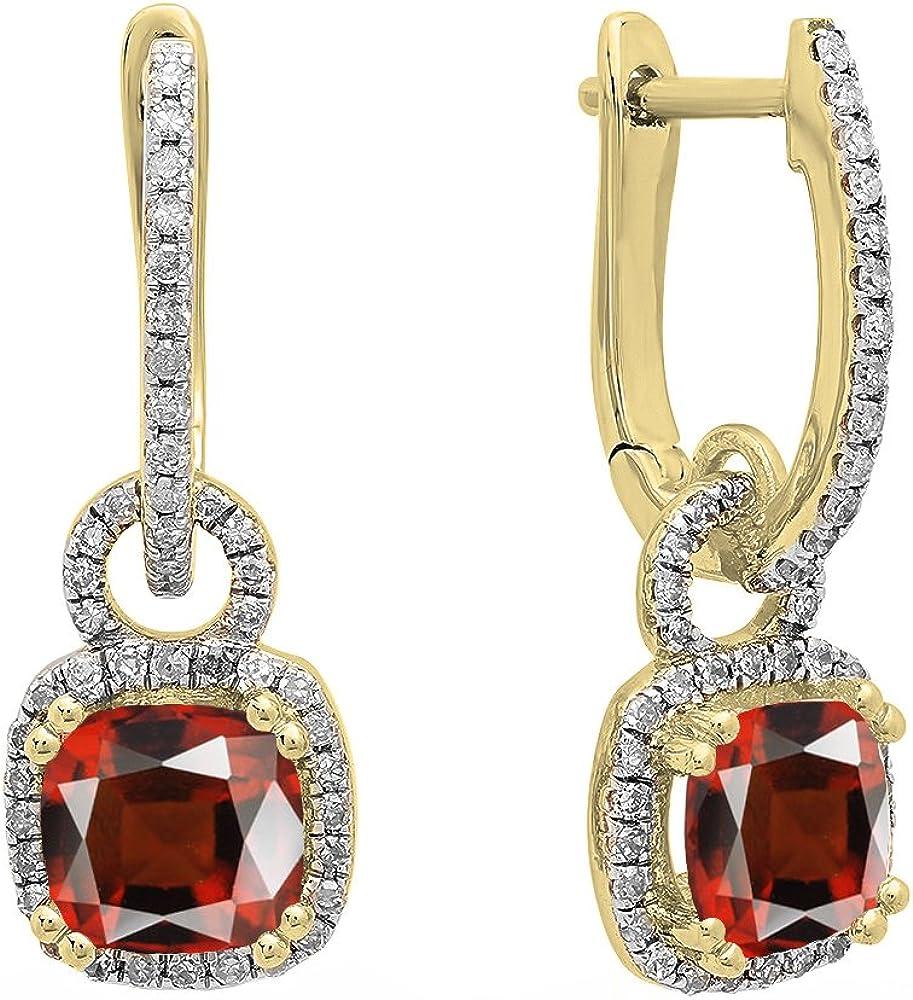 Pendientes colgantes de oro amarillo de 18 quilates de 6 mm cada cojín con piedras preciosas y diamantes blancos redondos