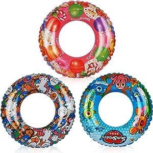 Vanmor Swim Rings Whirl Tube Colorful Pool Float Kids Cartoon Painting Inner Tubes Inflatable Donut Raft Foam Innertube Swimming Toy Set for Kids Gift Summer Beach Pool Party Decorations (3 Pack)