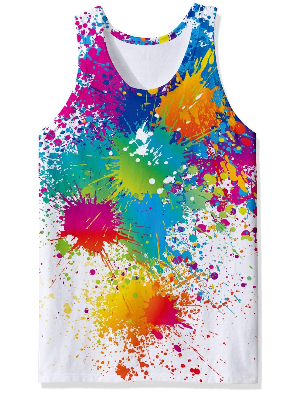 RAISEVERN 3D Pintura Colorida impresión patrón Divertido Realista fobric Gimnasio Camisetas para Hombres Grandes