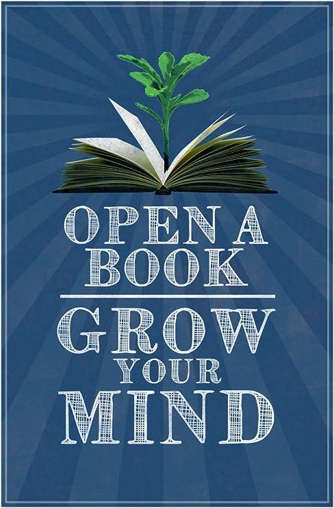 Amazon.com: Abrir Un libro crecer su mente aula arte cartel ...