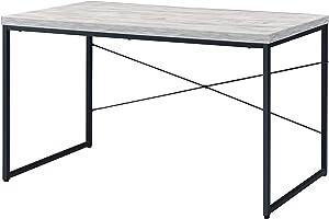 Acme Furniture Jurgen Desk, Antique White-Ash & Black