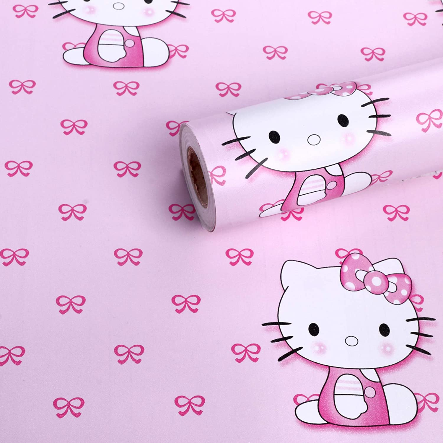 Oren Empower Cute Pink Kitty Diy Waterproof Wallpaper Specially Designed For Kids Bedroom Living Room Nursery Playing Area Etc Wall Covering Area 45cm 1 5ft X 330cm 11ft Pink Amazon In Home Improvement