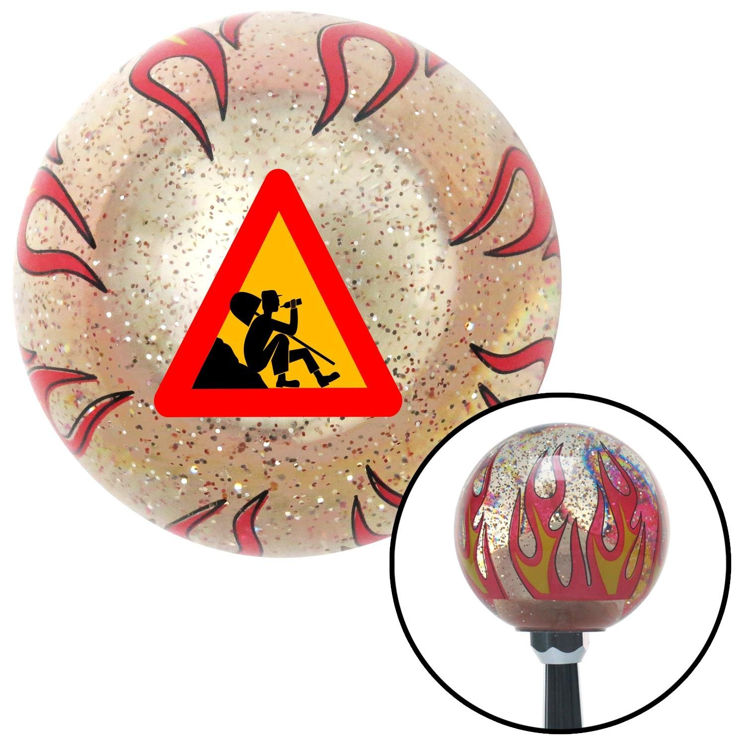 American Shifter 235295 Clear Flame Metal Flake Shift Knob with M16 x 1.5 Insert Men at Break